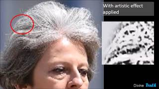 Teresa May Shapeshifting Hologram Failure.  Eyes & Hair made up of Jinn...Shocking