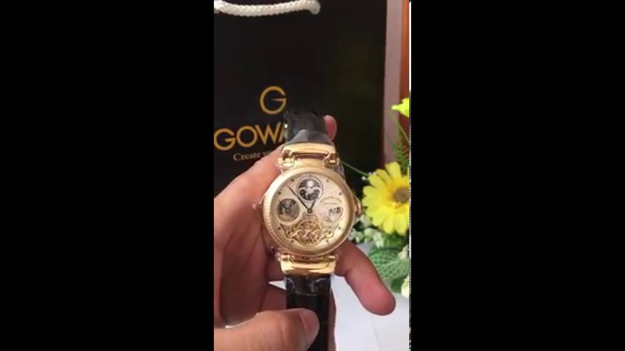 7f1cefdb1 (VIDEO Review) Stuhrling Original Men's 353A.333531 Magistrate Automatic  Skeleton Dual Time Gold Tone Watch   BOOMSbeat