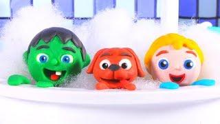 FUNNY KIDS BATHE THE DOG ❤  Play Doh Cartoons For Kids
