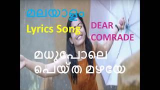 MADHUPOLE PEYTHA I മധുപോലെ I Malayalam Lyrics I Dear Comrade