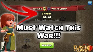Must Watch This Clan War!!! | Amazing War Attacks | Clash of Clans