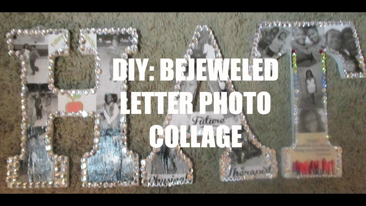 valentines day gift idea diy gift idea bejeweled letter photo collage abrushofbre
