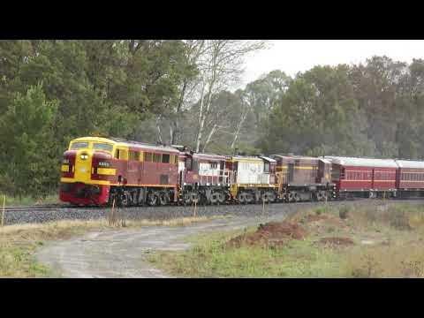 4403+4814+852+4520 motor through Newbridge with the Sydney-bound St James Rail tour train.