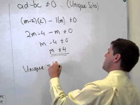 solving simultaneous equations for unique infinite and no ...
