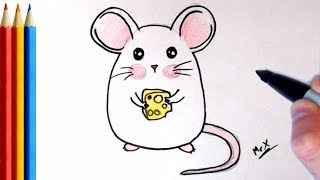 How to Draw A cute mouse with cheese - Step by Step Tutorial