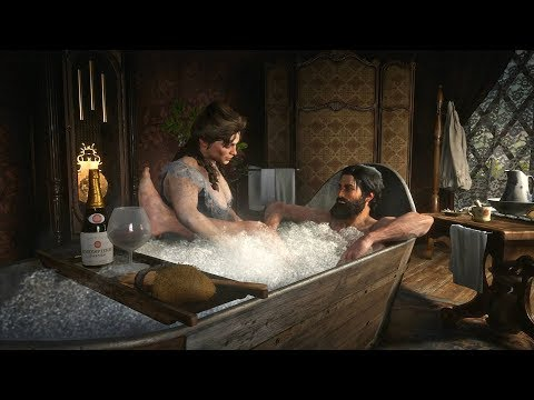 Red Dead Redemption 2 - John Marston Has Bath & Chats Up Girl (RDR2 2018)
