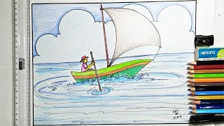 How To Draw Boat Trip For Kids Step By Step