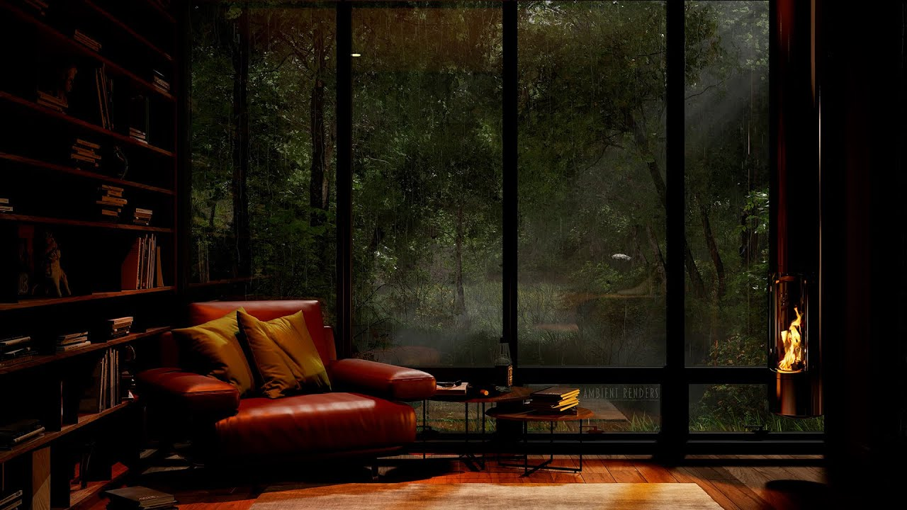 Download Escape The World In This Cozy Autumn Reading Nook With Fireplace | Fire and Rain Sounds | 4K | 8 Hrs