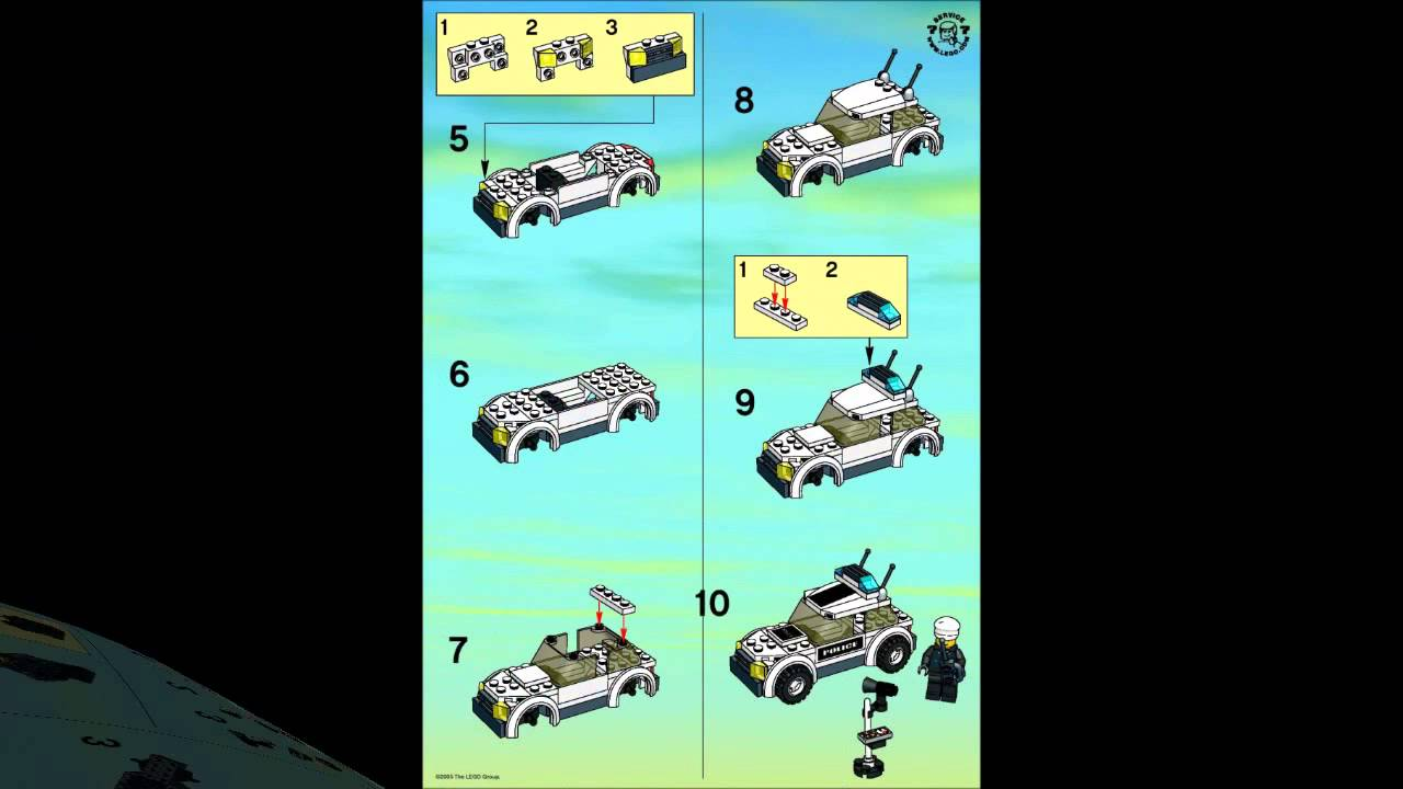 Lego 7236 Police Car City Police Instruction Booklet Youtube