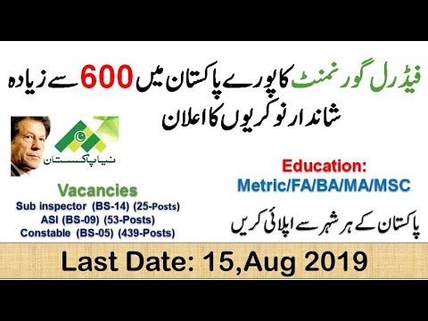 Federal Govt Organization Jobs 2019 | Latest Advertisement and apply here