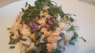 Цыганский салат.Курица с фасолью.