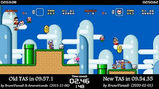 "[TAS Comparison] Super Mario World ""warps/any%"" in 09:54.35 by BrunoVisnadi"