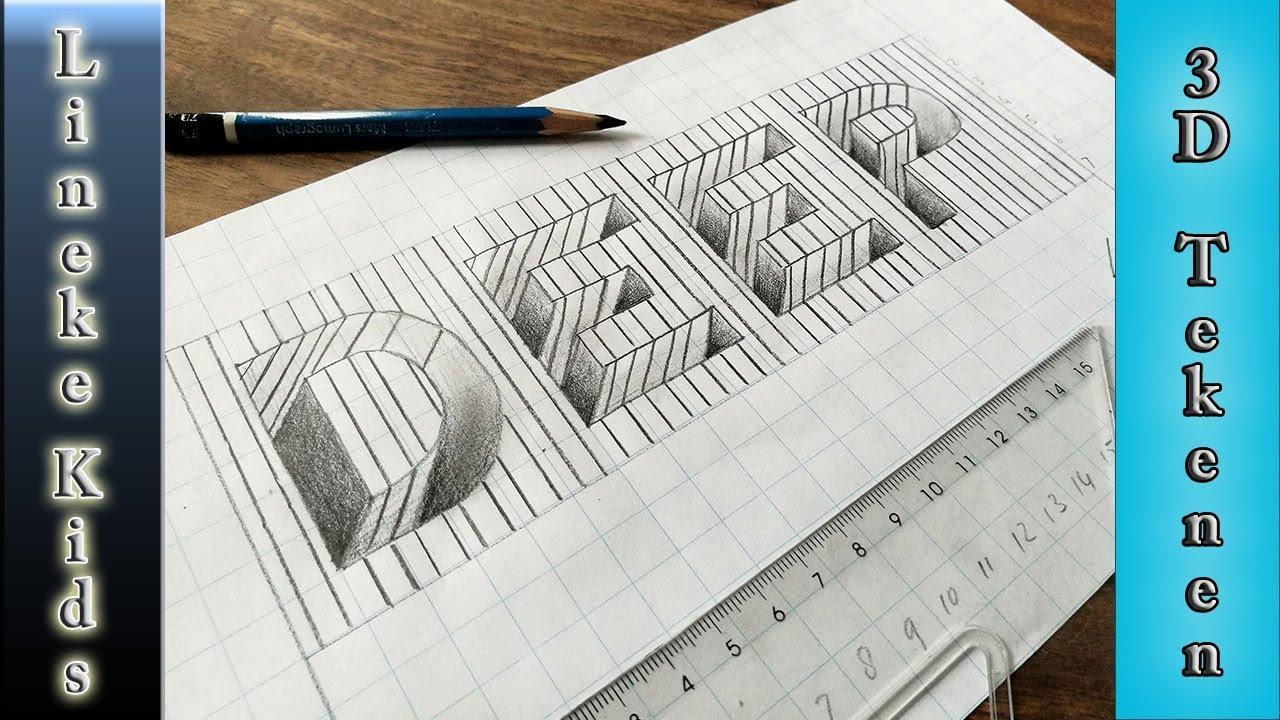 3d Tekening Gat Letters Tekenen Makkelijk Voor Beginners Youtube