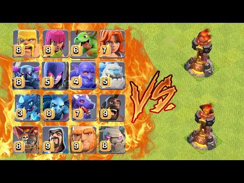 MAX SINGLE & MULTIPLE INFERNO TOWER VS ALL TROOPS ! WHO WILL WIN ? | CLASH OF CLANS