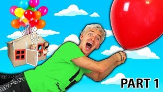FLOATING BOX FORT WITH GIANT BALLOONS!! (PART 1)