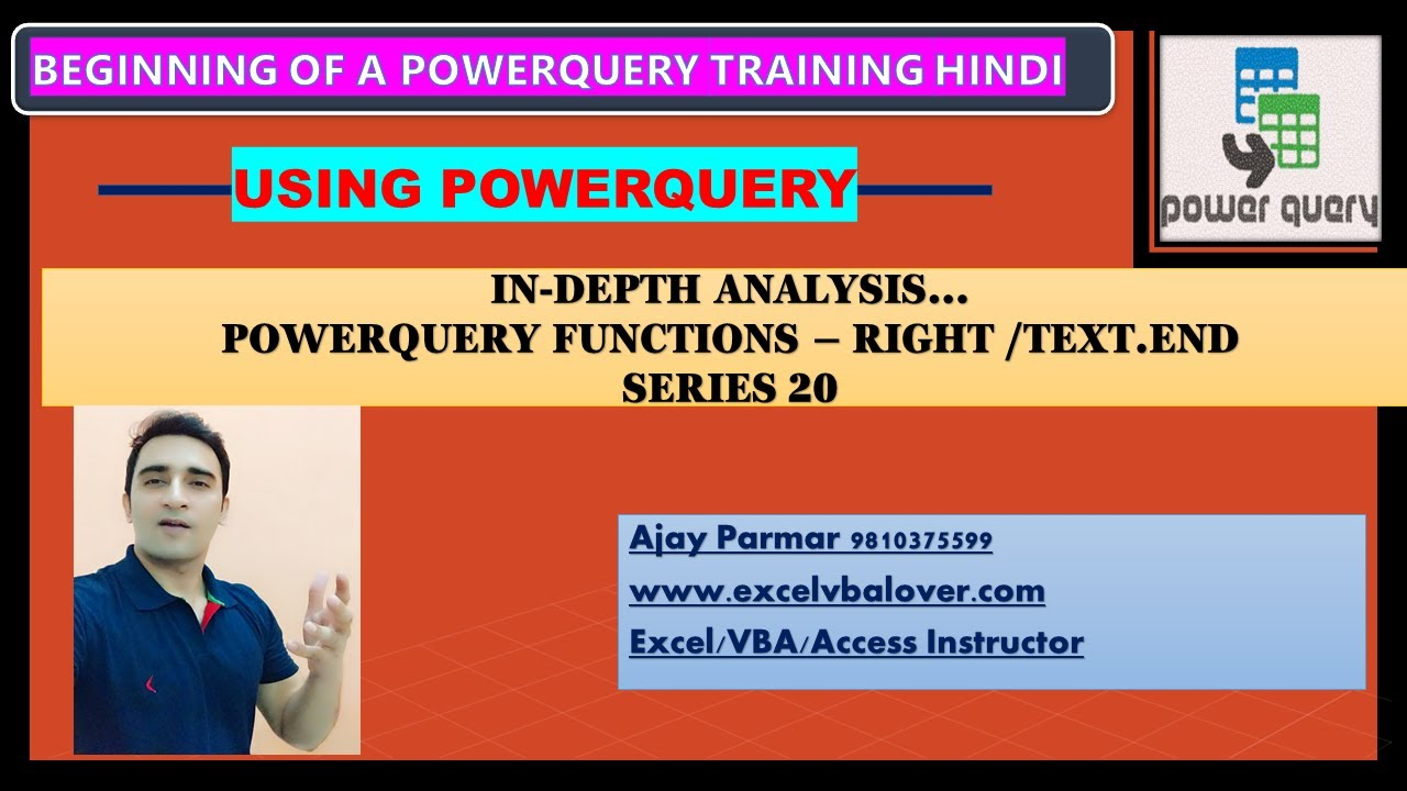 How to use Right function in Power-query hindi - Series 20