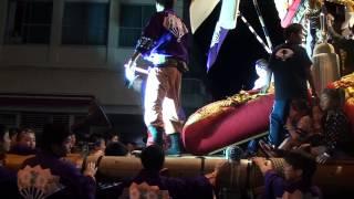 【観音寺祭】駅通りへ集まる様子(H24) japanese drum float electric parade (2010.10.20)