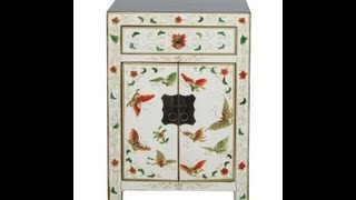 Chinese Solid Elm Wood Colorful Butterflies Night Stand / End Table F959