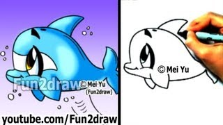 How to Draw a Cartoon Dolphin in 2 min - Cute Drawings - Easy Drawings - Fun2draw