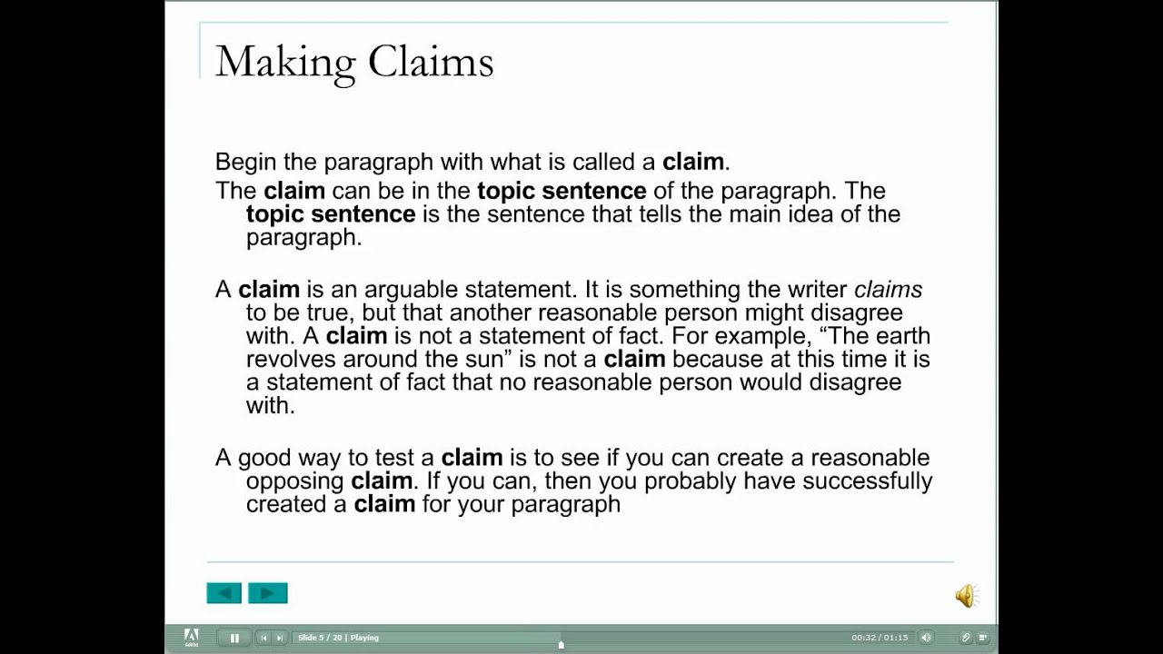Analytical Paragraph Structure: The Claim