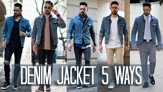 One of Carl Thompson's most viewed videos: How to Wear a Denim Jacket 5 ways | Men's Style & Fashion Lookbook