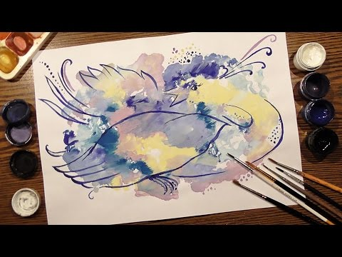 Speed Painting | Technique Monotype | 🐦 Winter Bird | Gouach
