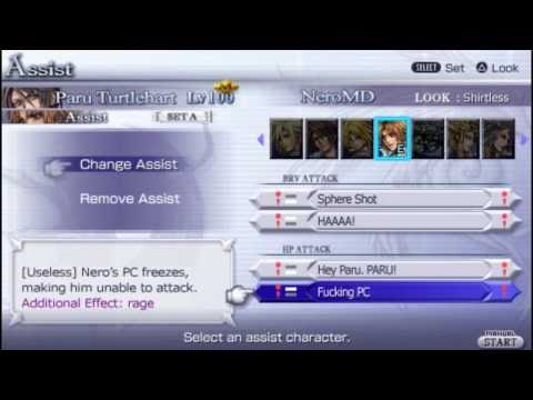 [Dissidia 012 Gag Reel] Paru Turtlehart's equipment, Nero as