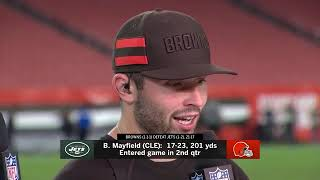 Baker Mayfield and Joe Thomas after Browns Win | Cleveland Browns