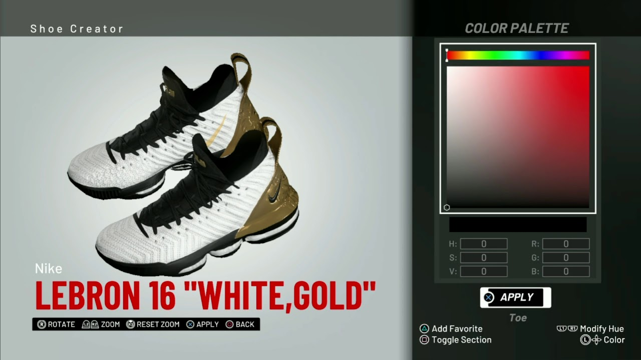 buy online 4c25f cea6c NBA 2K19 Shoe Creator   Nike Lebron 16 PE