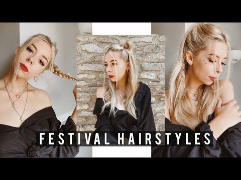 3 FESTIVAL HAIRSTYLES TUTORIAL   EASY AND NO HEAT!   Summer Jade