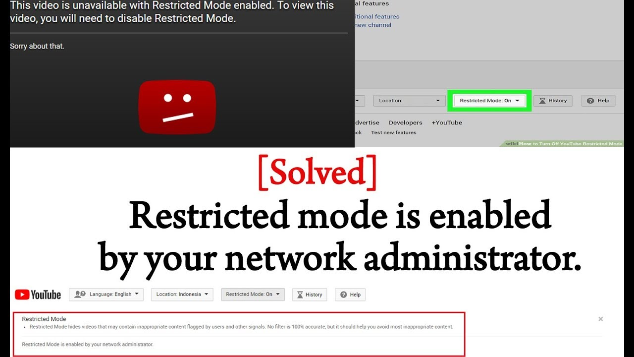 [Solved] - Restricted mode is ON enabled by your network administrator on  Youtube