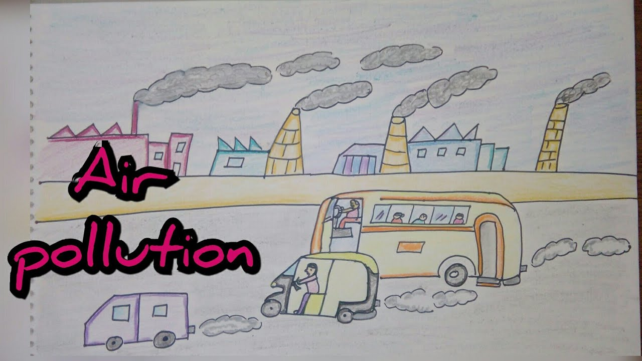 Drawing tutorial drawing on air pollution save environment easy drawing creative ideas