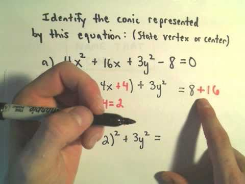 Identifying a Conic from an Equation by Completing the Square, Ex 2