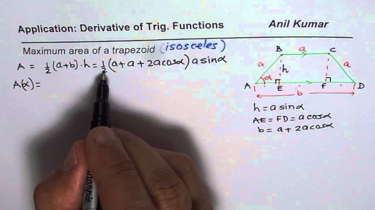 Solution For Maximum Area Of Trapezoid Trigonometry Derivatives