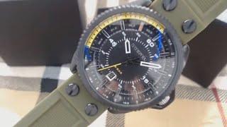 Men's Diesel Rollcage Green Silicone Strap Watch DZ1758