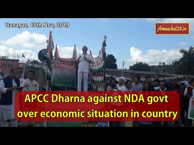 APCC Dharna against NDA govt over economic situation in country