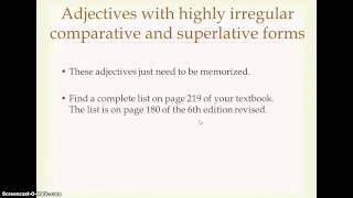Ch. 27: Irregular Comparative and Superlative Adjectives