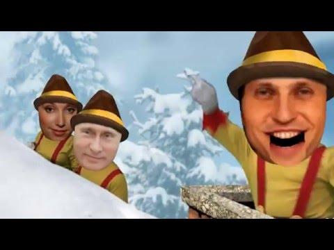 Прикольное поздравление с новым годом  'Весёлые снежки' - Прикольное видео онлайн