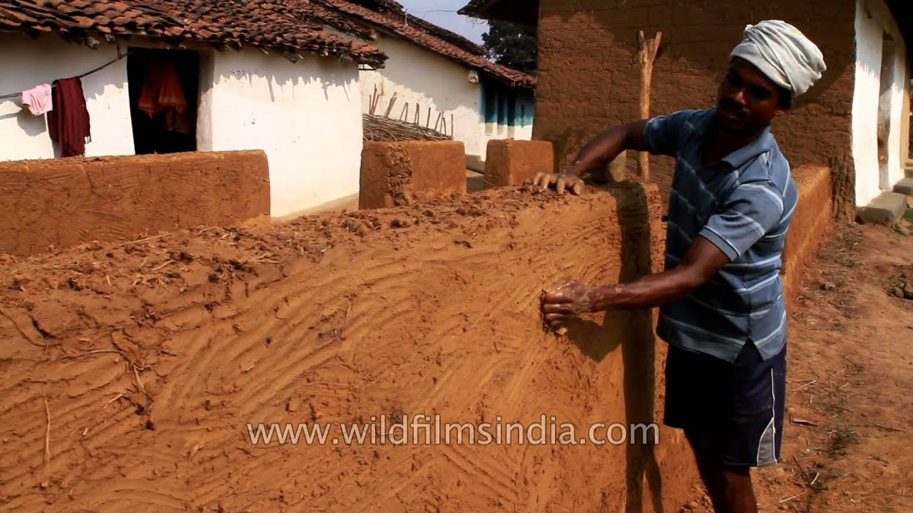 Mud House Making At Gond Tribal Village In Narna Madhya