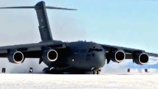 ANTARCTICA ice runway! FULLY LOADED C-17 GLOBEMASTER lands and takes-off from DEEP-SNOW AIRFIELD!