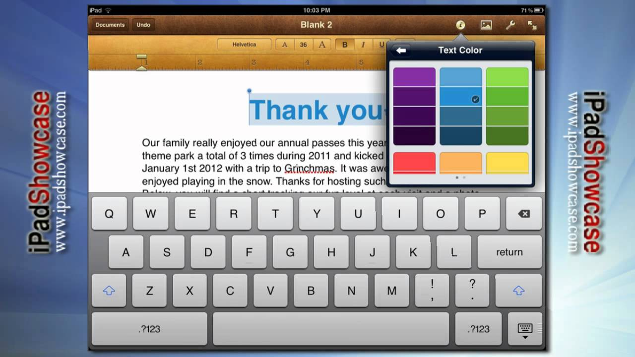 PAGES: WORD PROCESSOR FOR IPAD AND IPAD 2 - APP TOUR - YouTube