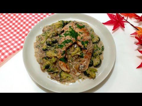 Salmon & Broccoli With White Sauce#Creamy Salmon With Broccoli Recipe