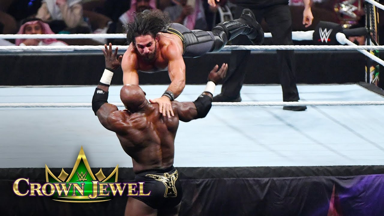 Seth Rollins takes down Bobby Lashley with two flying leaps from the ring: WWE Crown Jewel 2018