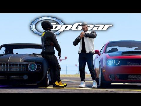 GTA V: TOP GEAR   CAMARO do FLASH vs DODGE CHALLENGER DO TJ, QUAL CORRE MAIS ?- Tj