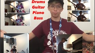Playing The Office Theme Song On Drums, Guitar, Bass, Piano (Please Watch!)