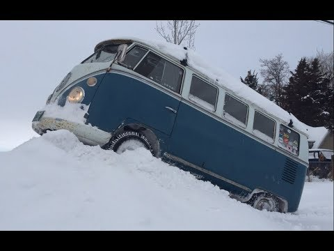 Volkswagen Bus VS. Old Man Winter.  Traction By KONIG Tire Chains.