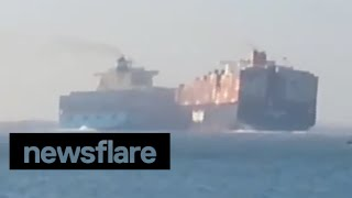 Two container ships collide on Suez Canal vessel video
