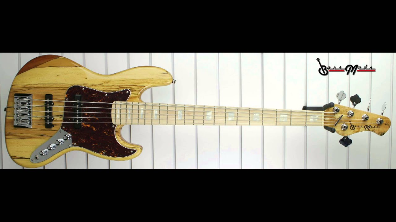 bass mods k5 spalted maple top over mahogany 18volt 3 band preamp