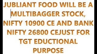 JUBLIANT FOOD WILL BE MULTIBAGGER STOCK, NIFTY 10900 CE AND BANK NIFTY 26800 CE