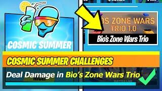 Deal Damage in Bio's Zone Wars Trio (Get Headshots, Gain Health) - Fortnite Cosmic Summer Challenges